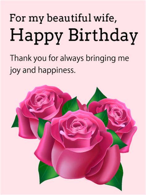 beautiful wife pink rose birthday card birthday