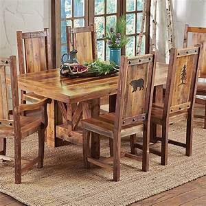 Western Trestle Table & Chairs - Country Rustic Wood Log