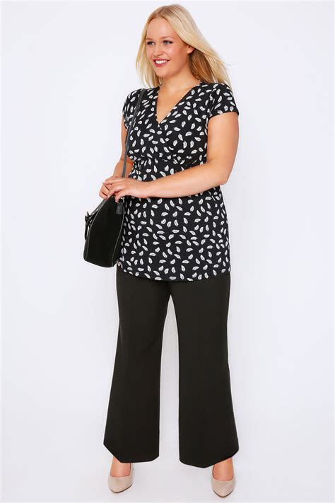 wide leg stab trousers stitch detail plus double