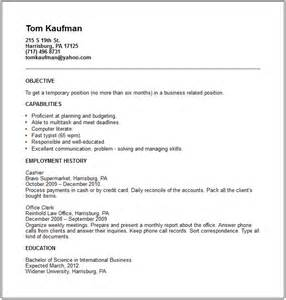 Temp On Resume temp worker resume exle free templates collection