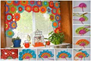 Crochet Rag Rug Patterns by Bright And Beautiful Homemade Crochet Flower Curtain