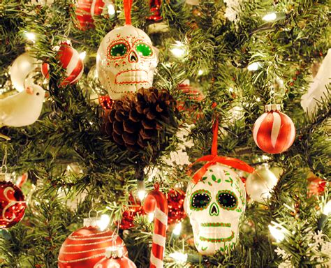 peachy cheek christmas decorating  sugar skull ornaments