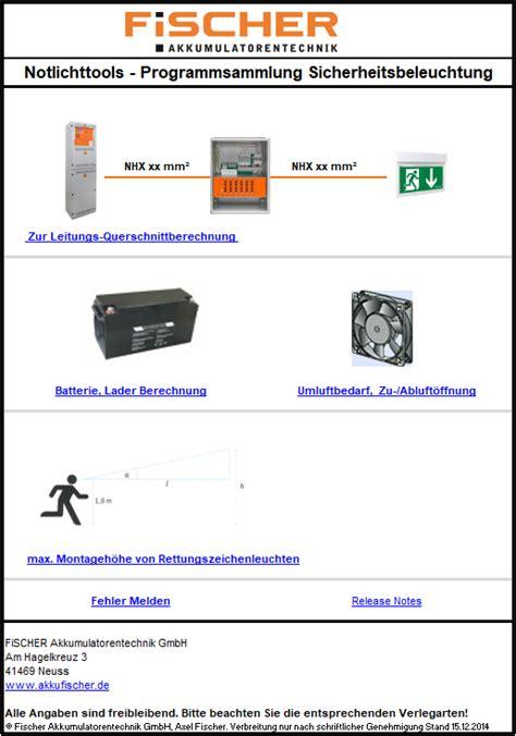 leitungsquerschnittsermittlung tool akkufischerde