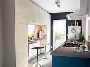 cuisine semi ouverte sable et bleu castorama With palette couleur peinture mur 14 amenagement optimise et deco pour ma cuisine ouverte