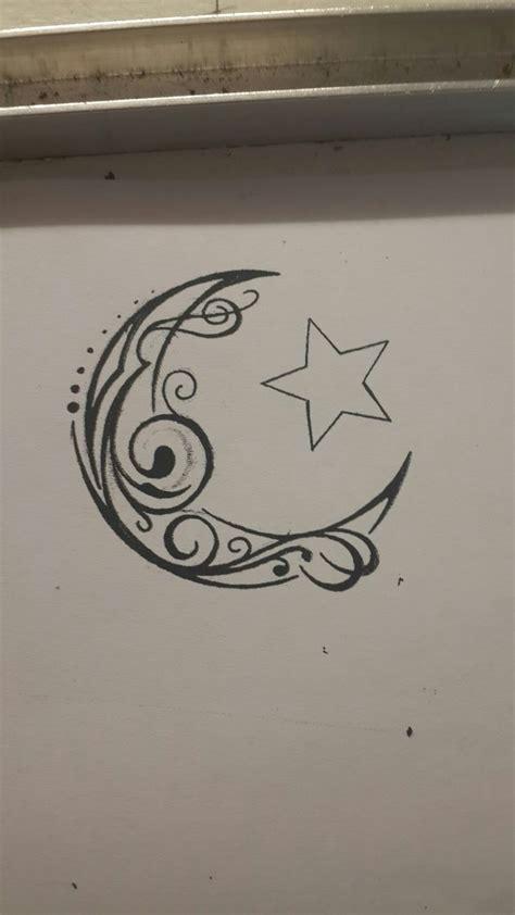 crescent moon  star tribal swirl tattoo design tattoo   pinterest  moon