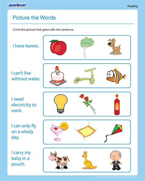 picture  words  st grade reading worksheet