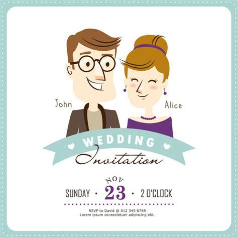 kartun kartu undangan pernikahan vektor misc vektor gratis