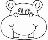 Hippo Coloring Pages Face Procoloring sketch template