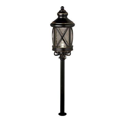 shop allen roth rubbed bronze low voltage led path