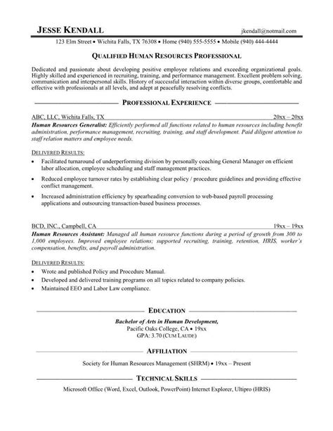 sample resume  hr assistant fresh graduate