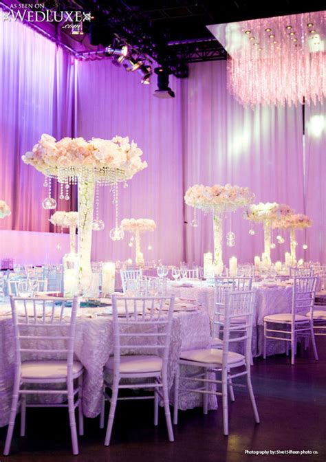 luxury lavender  silver wedding reception decorations