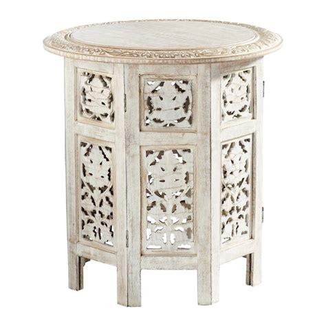 canapé du bout du monde bout de canapé sculpté en bois blanchi l 46 cm saranya