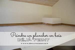 peindre en blanc un plancher en bois ancien deja peint With peindre un parquet ancien en blanc