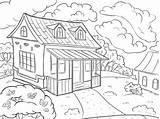 Dom Kolorowanka Coloring Landscape Summer Fototapeta Krajobrazowy Latem Kolorowania Coloritura Paesaggio Pagina Fototapety Arte Clipart Adobe Linea Kolorowanki Della Rysunek sketch template