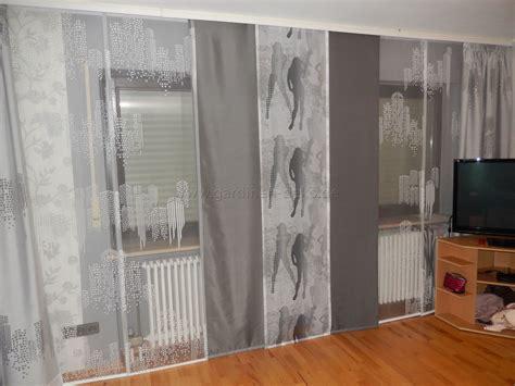 moderne weiss graue schiebegardine fuers wohnzimmer mit