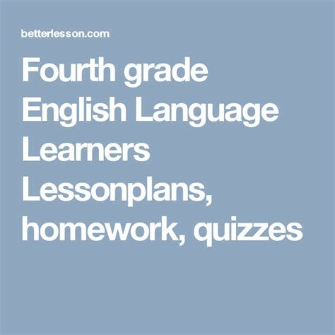 fourth grade english language learners lessonplans