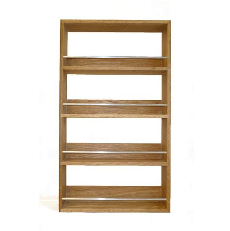 solid oak spice rack  shelves kitchen worktop wall mounted wooden jar storage ebay