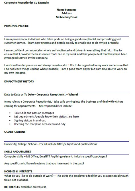 Corporate Cv Template by Corporate Receptionist Cv Exle Icover Org Uk