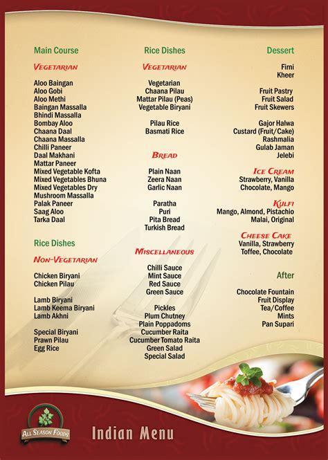 carte cuisine indian wedding reception food menu images wedding