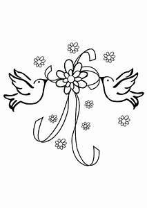 Dessin Couple Mariage Couleur : coloriage mariage deux colombes et un ruban ~ Melissatoandfro.com Idées de Décoration