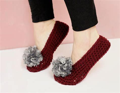 pom pom crochet slippers  adults favecraftscom