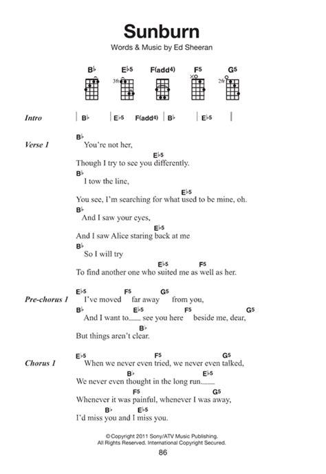 sunburn sheet   ed sheeran ukulele