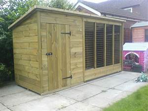 Tanalised wooden dog kennel and run cattery 10 x 4 for Dog kennel prices