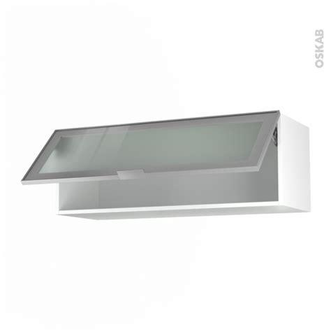 placard haut de cuisine meuble de cuisine haut abattant vitré façade alu 1 porte
