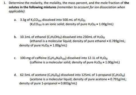 Homework  Does Ion Dissociation Affect Things Such As Molality, Molarity, Mole Fraction, Etc