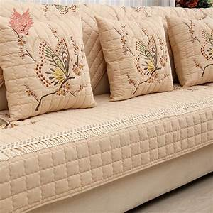 pastoral style luxury butterfly embroidery 100 cotton With quilted sectional sofa cover