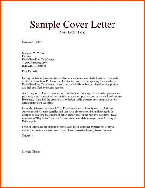 teacher cover letter sopexample