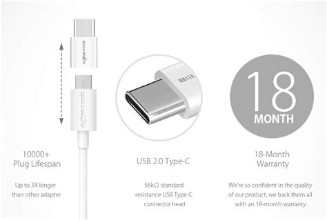 Blitzwolf® Bw-a2 Usb Type-c To Micro Usb Connector Usb C
