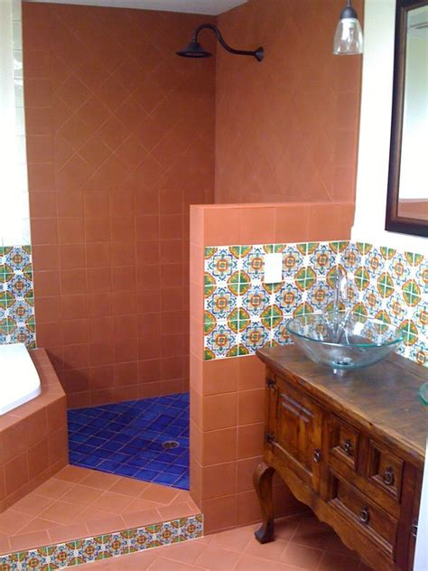 terracotta mexican tile   shower mexican home decor