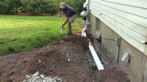 basement insulation   install drainage pipe diy
