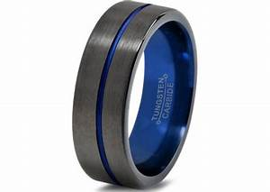 mens gunmetal wedding band tungsten carbide brushed With mens wedding rings blue