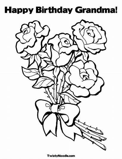 Coloring Birthday Happy Grandma Flower Printable Colouring