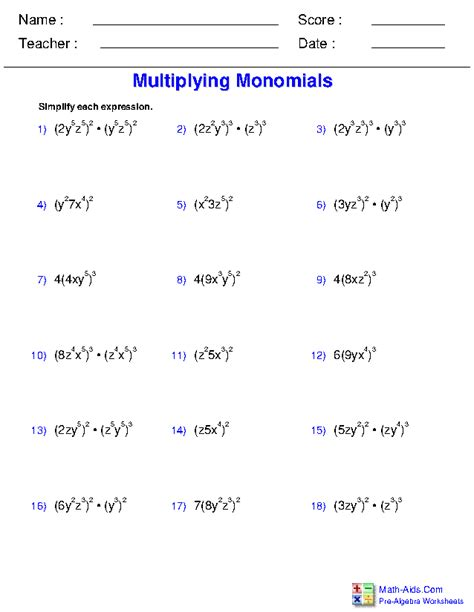 Prealgebra Worksheets  Monomials And Polynomials Worksheets