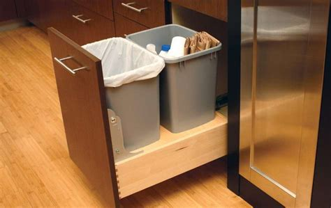 kitchen cabinet trash pull out diy pull out trash can in a kitchen cabinet amazing idea