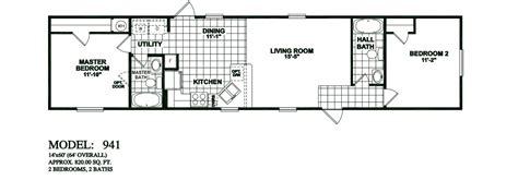 2 bedroom 1 bath mobile home floor plans model 941 14x60 2bedroom 2bath oak creek mobile home