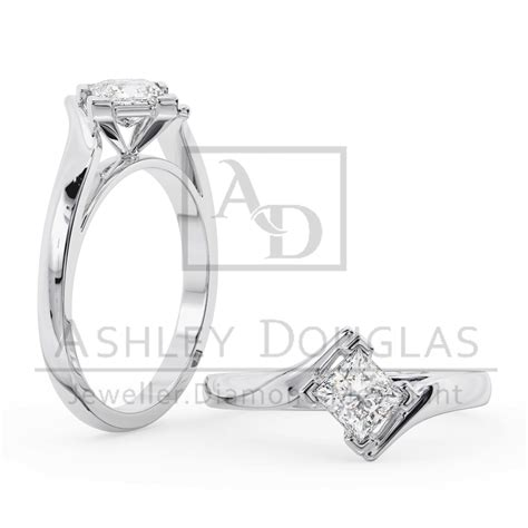 crossover style solitaire corner cap engagement ring douglas jewellers