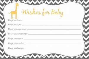 wishes for baby card printable chevron baby shower giraffe With wishes for baby printable template
