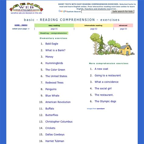 basic reading comprehension exercises easy texts elementary level pearltrees