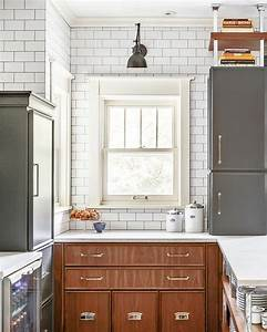 two tone kitchen with subway tiles contemporary kitchen With what kind of paint to use on kitchen cabinets for coastal metal wall art