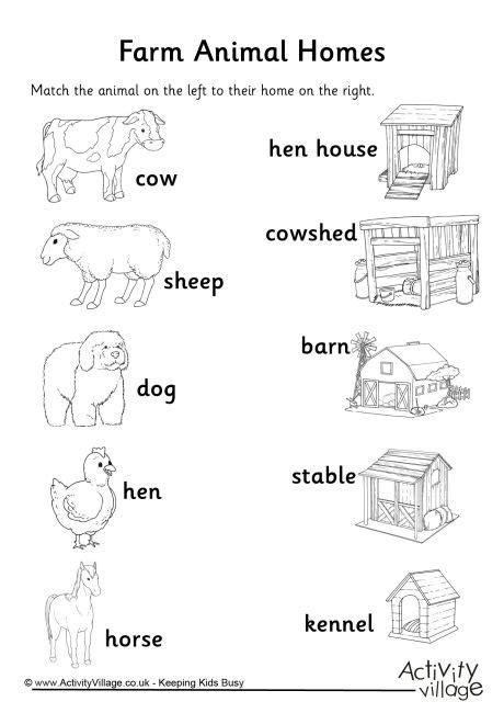homes of animals worksheets for kids farm animal homes matchup worksheet