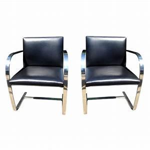 Mies Van Der Rohe Chair : 2 vintage knoll mies van der rohe stainless flat brno chairs black leather ebay ~ Watch28wear.com Haus und Dekorationen