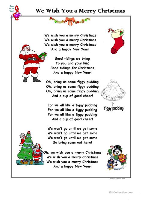 Christmas Song We Wish You A Merry Christmas Worksheet  Free Esl Printable Worksheets Made By