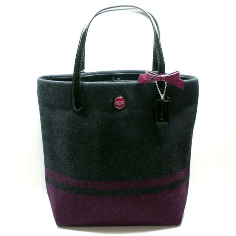 coach wool stripe north south tote bag passion berry  coach