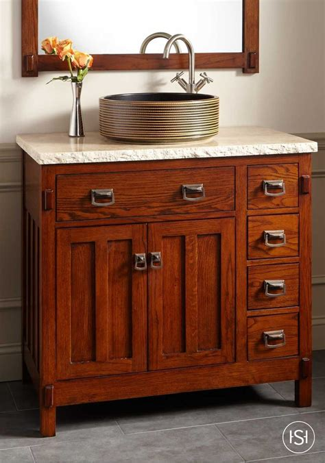 bastian teak vessel sink vanity rustic brown