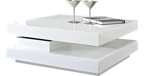 table basse carr 233 e plateau pivotant blanche table basse destock meubles ventes pas cher