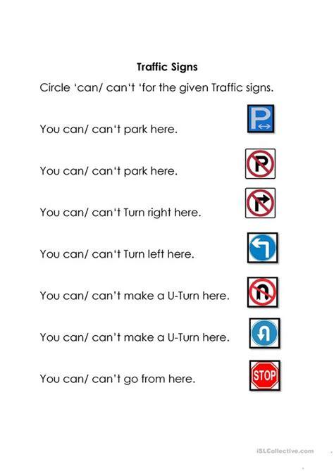 traffic signs english esl worksheets  distance